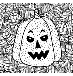 black and white halloween pumpkin for coloring vector image