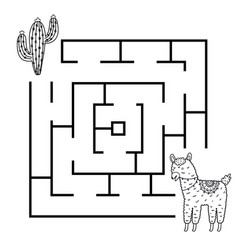 Black and white square shape maze game with funny vector