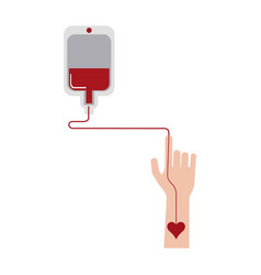 Blood transfer on hand vector