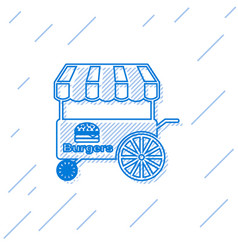 Blue fast street food cart with awning line icon vector