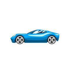 Blue sports racing car supercar side view vector