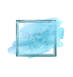 Blue watercolor grunge frame vector