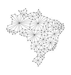 brazil map of polygonal mosaic lines rays vector image