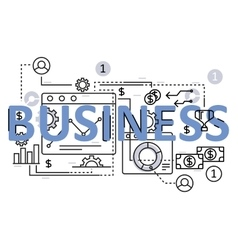 Business concept flat line design with icons and vector image