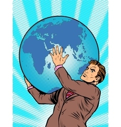 Businessman titan atlas holds earth vector