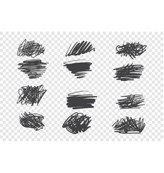 chaotic black scribble set vector image