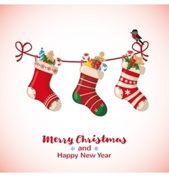 Christmas greeting card with socks vector image