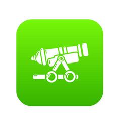 Coastal cannon icon green vector