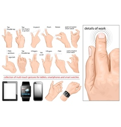 Collection multi-touch gestures vector