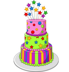 colorful birthday cake isolated vector image