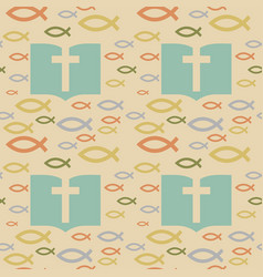 Colorful seamless pattern with christian symbols vector