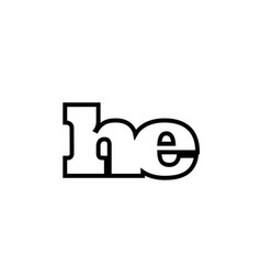 connected he h e black and white alphabet letter vector image