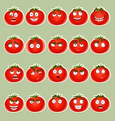 cute cartoon tomato smile with many expressions vector image