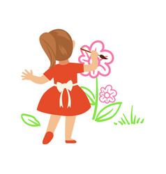 Cute little girl in red dress painting flowers on vector