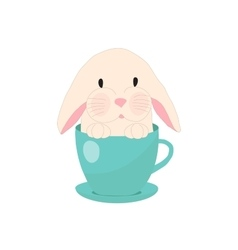Cute rabbit in teacup set for baby vector