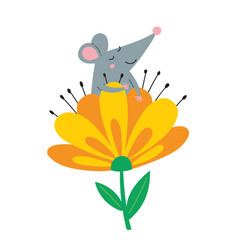cute rat in flower vector image