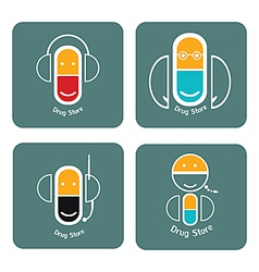 drug store icon collection vector image