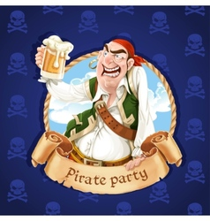 Drunken pirate with a beer Banner for Pirate vector image