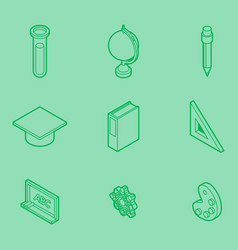 Education outline isometric set vector