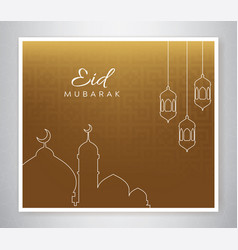 eid mubarak poster with line-style vector image