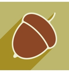 Flat with shadow icon and mobile application acorn vector
