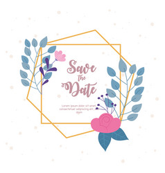 flowers wedding save date invite decorative vector image