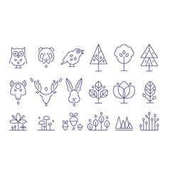 Forest set flora and fauna animals and plants in vector