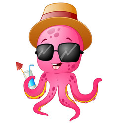 funny cartoon octopus summertime vector image