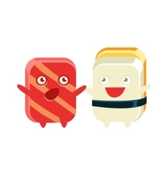 Funny Maki Sushi Character Friends Talking vector image