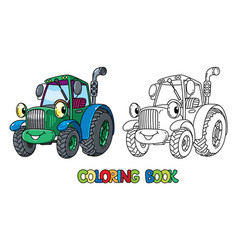 Funny small tractor with eyes coloring book vector