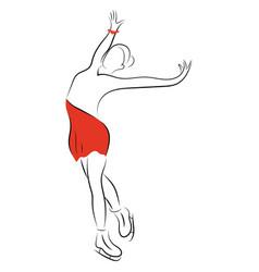 girl figure skater figure skating black vector image