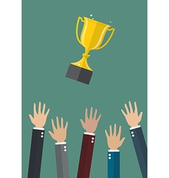 Hands throwing a trophy cup in the air vector image vector image