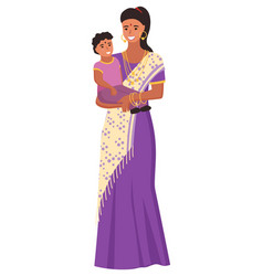 Indian mother in sari with daughter india vector