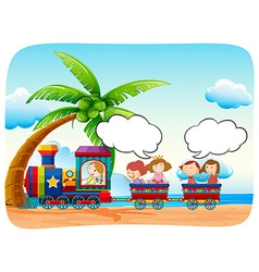 Kids on train at the beach vector