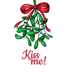 Kiss me under Mistletoe Christmas card with decor vector