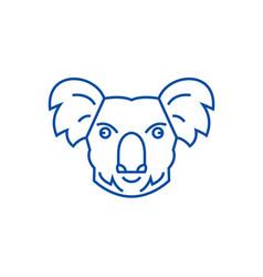koala head line icon concept koala head flat vector image