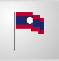 laos waving flag creative background vector image