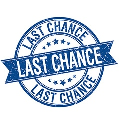 Last chance grunge retro blue isolated ribbon vector
