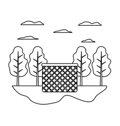 Line wood hamper object in the landscape with vector