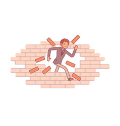 Man breaking the brick wall vector