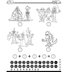 Maths educational game coloring page vector
