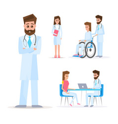 medical concept doctors and patients set vector image