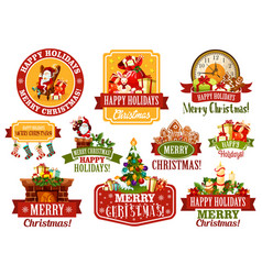 Merry christmas wish greeting ribbon icons vector