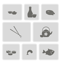Monochrome icon set with sushi and sake vector