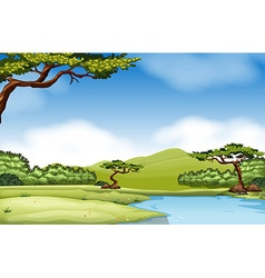 Nature scene with river and field vector