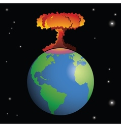Nuclear weapon exploding on Earth vector