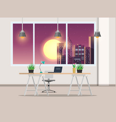 office with work desk and window night city vector image