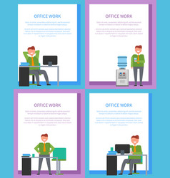 Office work posters set men at workplace have rest vector
