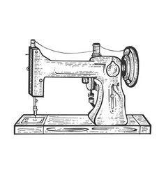 Old sewing machine sketch engraving vector