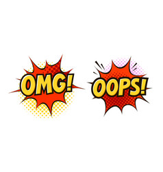 omg oops in pop art retro comic style cartoon vector image